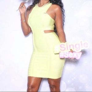 Green bandage cut out dress